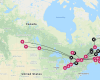 A map of Canada of routes abandoned by Air Canada to stop losses