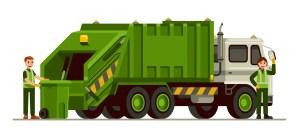 Waste management dumpster truck illustration