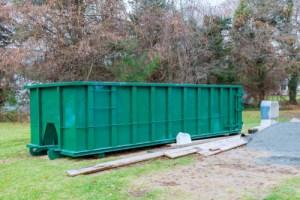 Dumpster rental in front yard