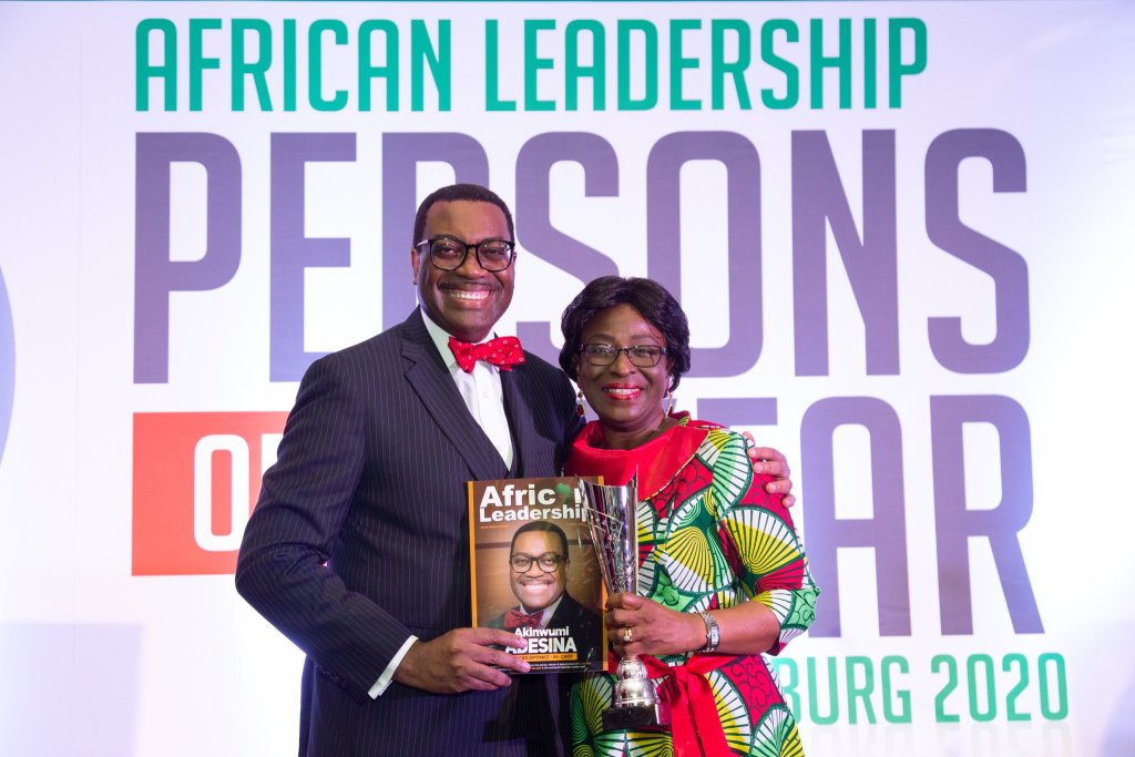 Akinwunmi Adeshina celebrates with his wife