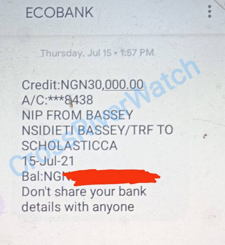 N30,000 alert refunded by the Registrar to Mrs. Scholastica after he opened up to be pally with the judgment debtor, Mr. Isiaka.