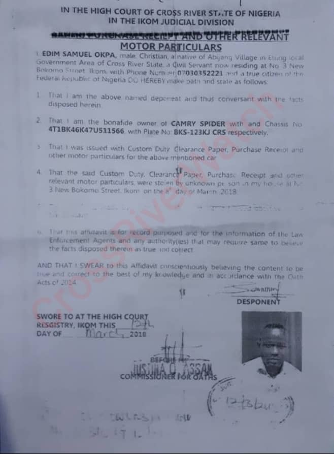 Evidence that the Toyota Camry that was sold doesn't belong to Loveday, judgment debtor but Edim Samuel Okpa.
