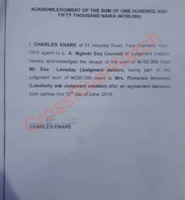 Confirmation of receipt of N150,000 from Mr. Loveday Eke.