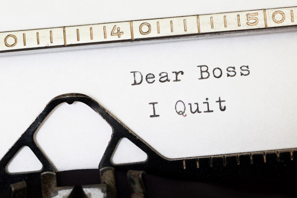 Dear Boss i Quit. Written on old typewriter