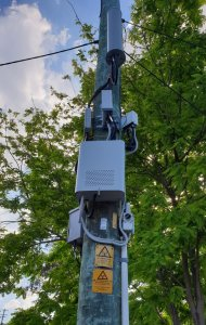 Small-cell 5G transmitters on utility pole