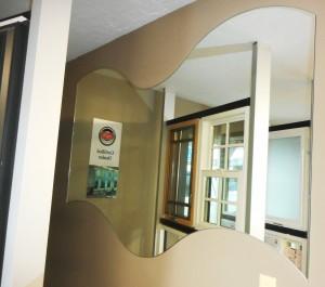wavy mirror in showroom