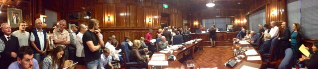 Some of the 150 people who crammed into Cottesloe's council chamber for the dog beach debate on Monday.