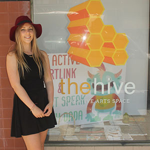 Jordan Grosser at the entrance to The Hive