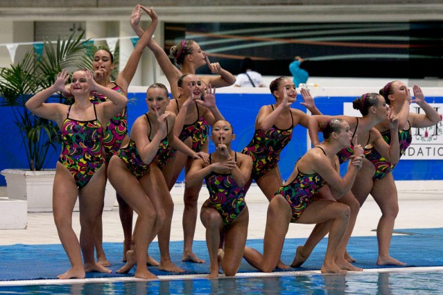 The free-age combination team, home to all five WA Olympic prospects, on deck before beginning their routine which won them first place in their event at the National Competition in Sydney on April 24. Photo by Wilco van Amersfoort.