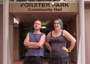 Belmont NLNL Co-founders Lauren Hunter and Phillip Healey at Forster Park Community Hall. Photo By Lauren Hunter.