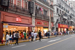People bursting from the shops in Pudong. Photo by Kaylee Meerton