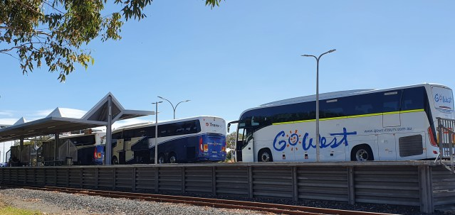 Three road coaches lined up at the Bunbury passenger terminal.