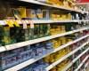 Tins of tuna in a supermarket