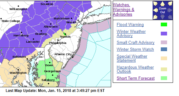 Winter Weather Advisories in most of the region