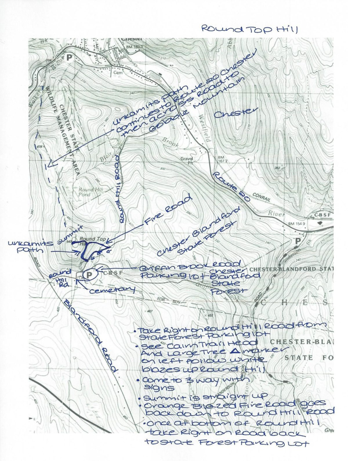 Chester Rount top hill map with notes