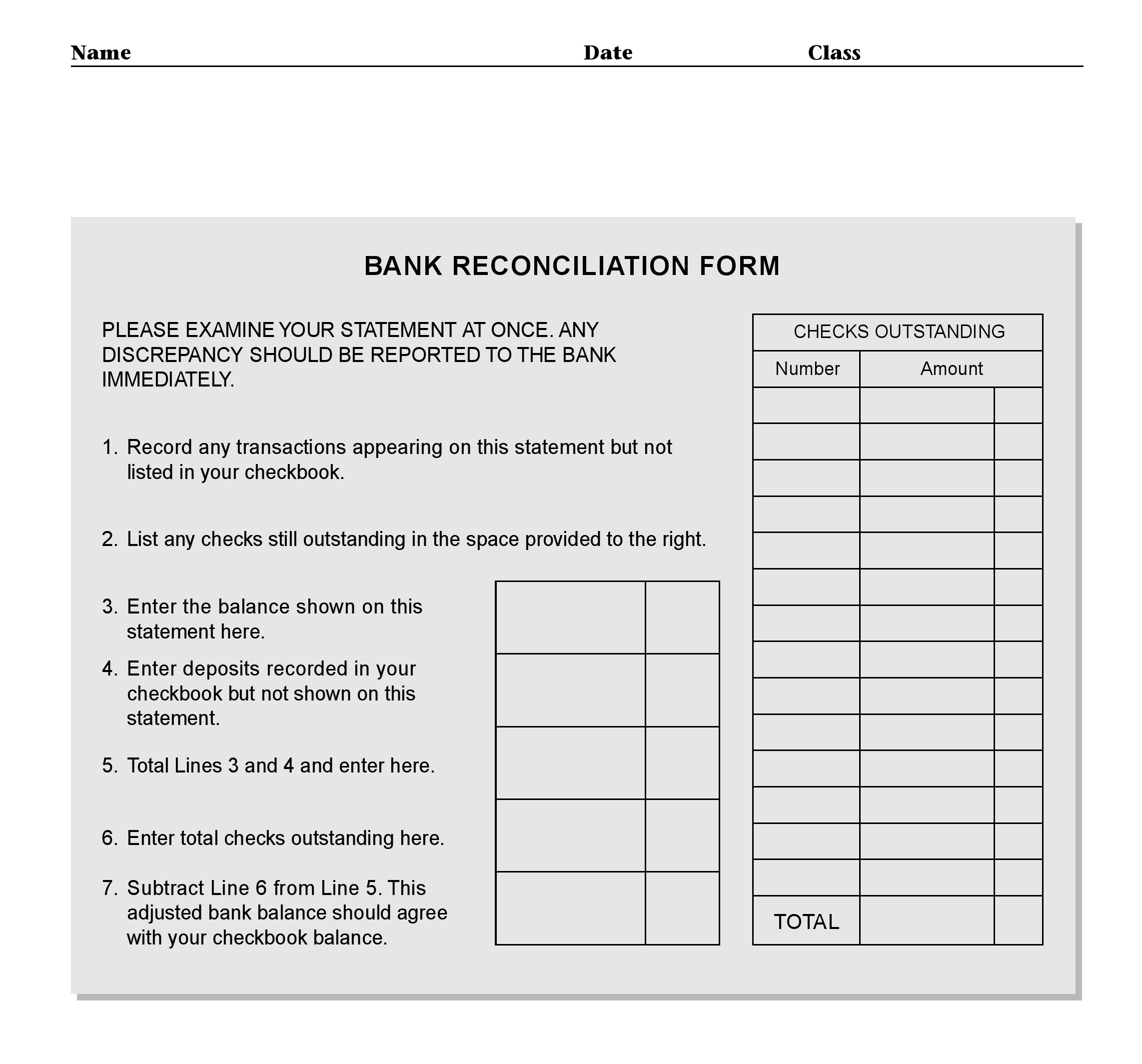 Bank Statement Reconciliation Form