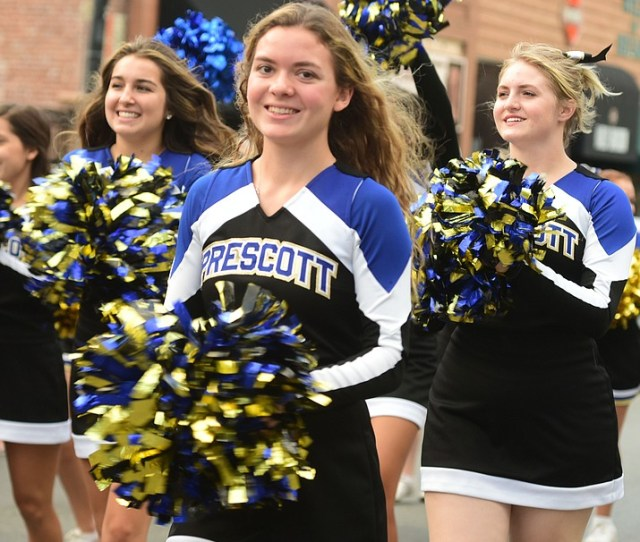 Prescott High School Senior Kirsten Hillig Marches In The Homecoming Parade With Fellow Cheerleaders Wednesday