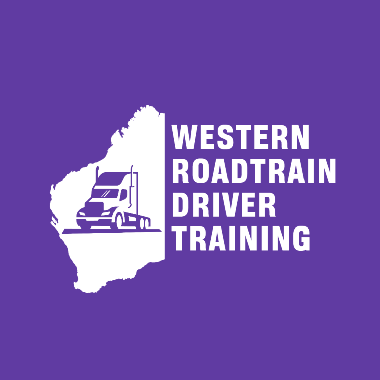 """Logo of Western Roadtrain, Perth Truck Driving School. The colour is purple with white writing and features a filled in outline of Western Australia with a purple truck in the centre. The words """"Western Roadtrain Driver Training"""" are next to the map and roughly make out the shape of the rest of the country."""