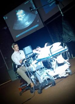 Live scanning during the first lecture: pleural and lung ultrasound. 3 screen setup in Auditorium A - courtesy of Matt Krawecki in CSTAR.