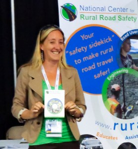 Jaime Sullivan presents information about the National Center for Rural Road Safety at a Conference information booth (2017)