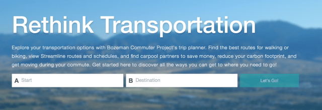 Screen shot of the Bozeman Commute.org website. Shows commute options after staff and destination are filled in.