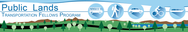 Logo banner for the Public Lands Transportation Fellows Program managed by WTI