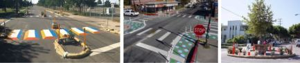 "Examples of temporary ""pop up"" street features for safer streets in Bozeman. These features use chalk, straw bales and planters to build temporary roadway features."
