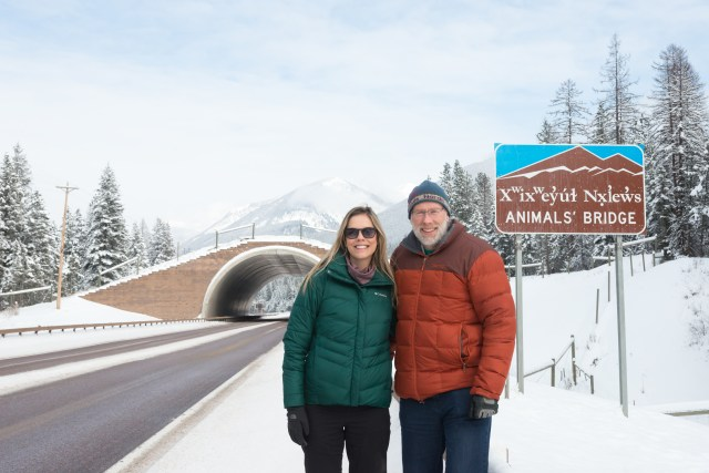 Fernanda Abra and Marcel Huijser at wildlife overpass, US Hwy 93, Flathead Indian Reservation, Montana, USA