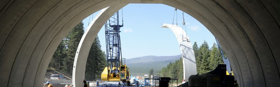 Wildlife overpass under construction Ono US 93