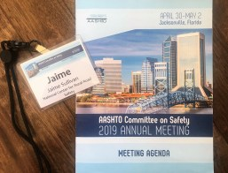 Photo of nametag and meeting agenda for AASHTO Safety Committee Annual Meeting 2019