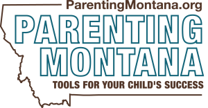 "Logo for ParentingMontana.org shows outline of state with the website address and tagline ""Tools for your child's success"""