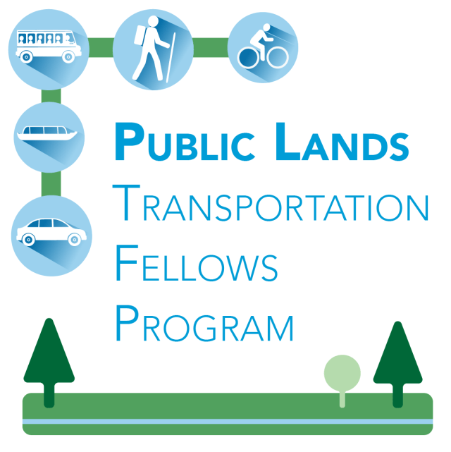Logo: Transportation icons including, shuttle bus, hiker, cyclist, tour boat and car. Text Public Lands Transportation Fellows program