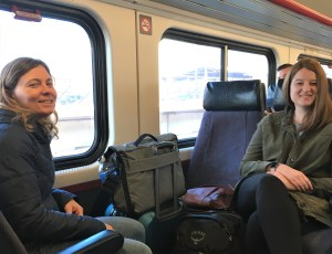 Laura Fay and Karalyn Clouser in train traveling to Maryland