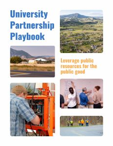 Cover image of University Partnership Playbook with 5 photos of rural settings and transportation professionals
