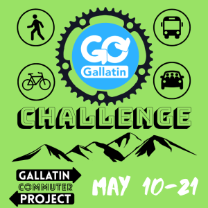 Logo for Go Gallatin Challenge from May 10 to May 21 with graphics of different transportation modes