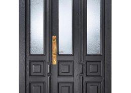 Doppeflügelige schwarze Haustüre mit Lichtelementen und Schnitzereien – Westerwald Haustüren