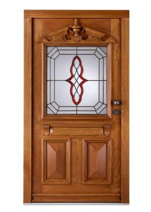 Haustür aus holz mit Bleiverglasung