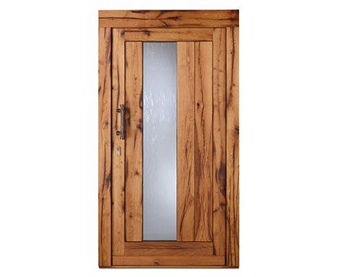 Altholztür mit kurzem Griff und Glaselement - Westerwald Haustüren Löhr