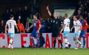 Video Aaron Cresswell red card v Crystal Palace (two yellows) & Howard Webb's reaction
