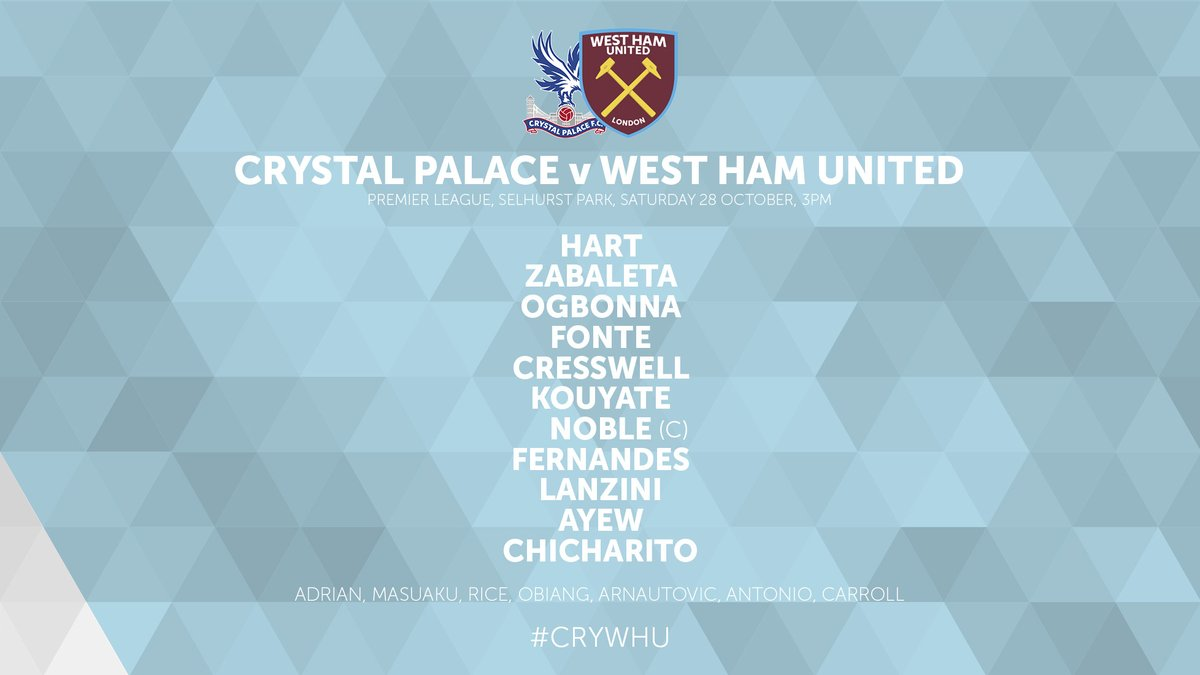 WHUFC starting lineup vs Palace 2017