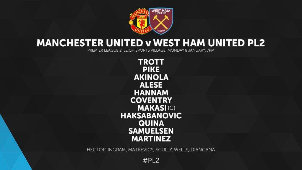West Ham U23 v Man Utd 2018