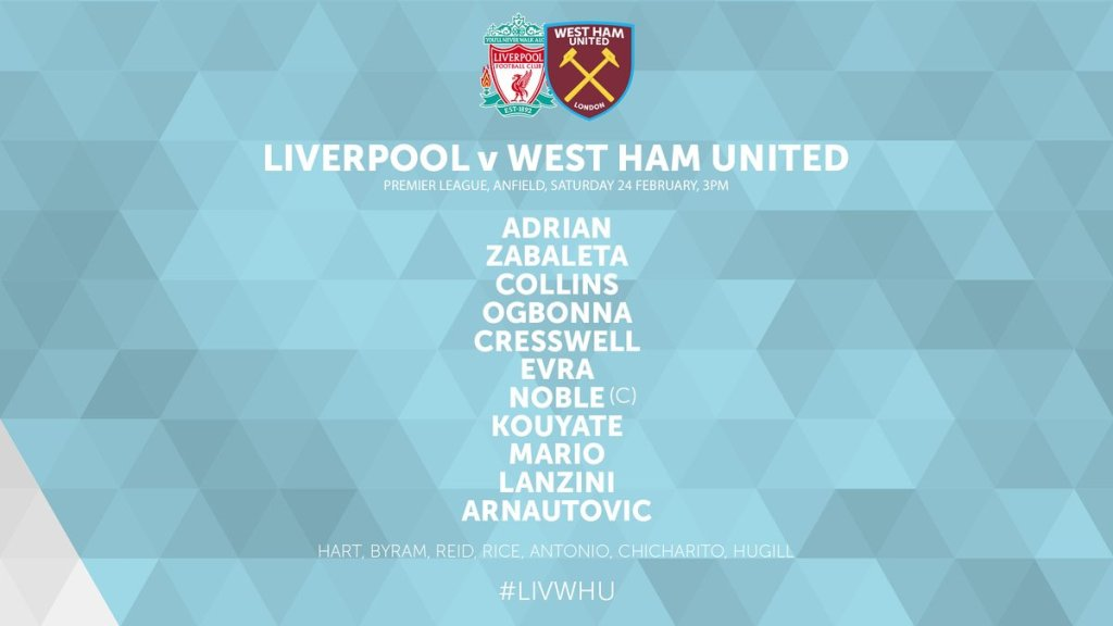 West ham Starting XI v Liverpool 2018