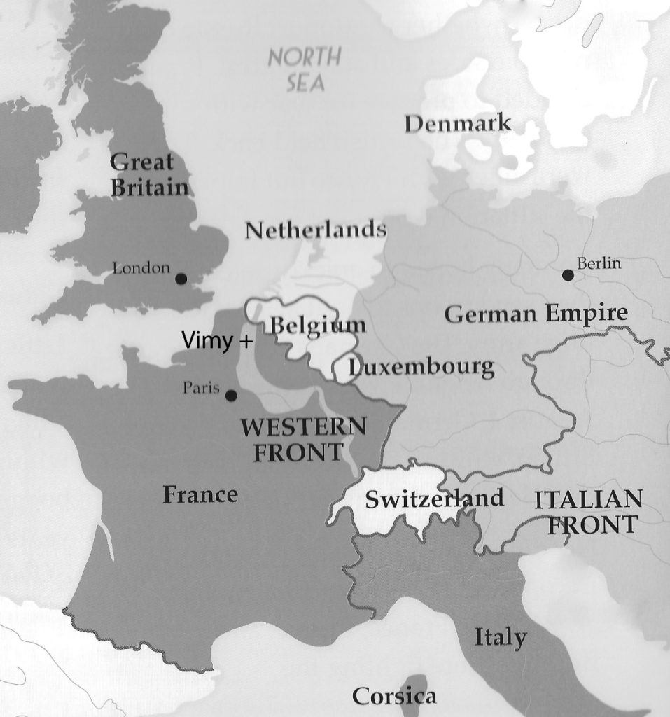 World war i project april 2017 west hants historical society europe map 2017 vimy gumiabroncs Gallery