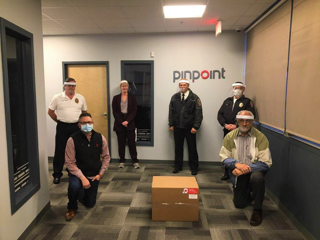 Pinpoint gives face shields to city