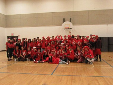 Grade 12 wearing red on colour day.