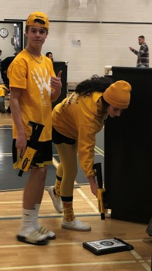 Gr. 11's playing lazer tag on colour day.