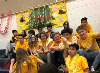 Grade 11's cheering on the contestants during gym games.