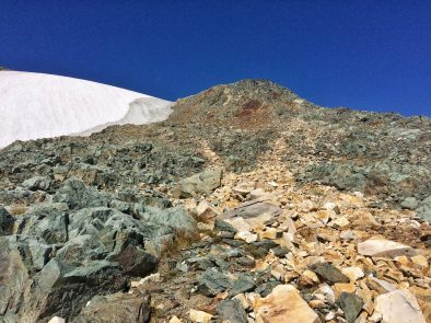 Snow and rocks up Brennan