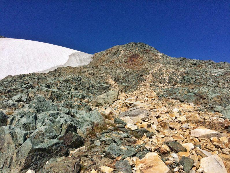 Snow and rocks up Brennan