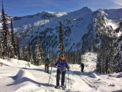 Ascending on snowshoes